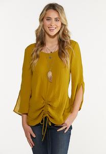 Olive Ruched Tie Top