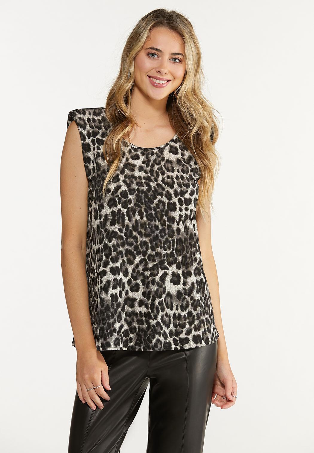 Leopard Shoulder Pad Top