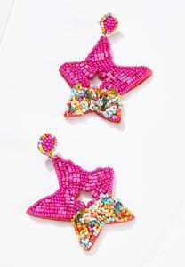 Beaded Sequin Star Earrings