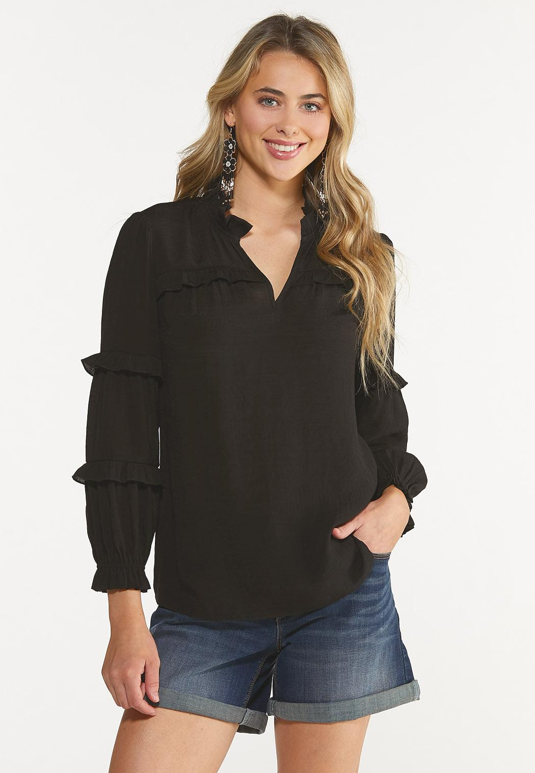 Plus Size Solid Ruffled Top