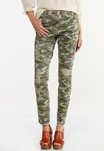 Distressed Camo Skinny Pants