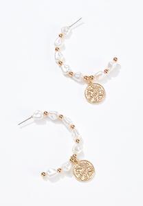 Beaded Coin Hoop Earrings