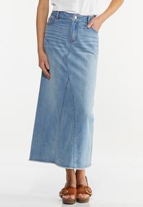 Plus Size Frayed Denim Maxi Skirt