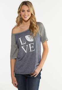 Plus Size Slouched Love Football Tee