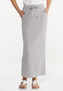 Plus Size Tie Waist Maxi Skirt