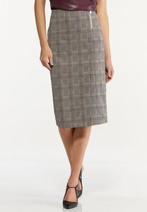Plus Size Jacquard Pencil Skirt