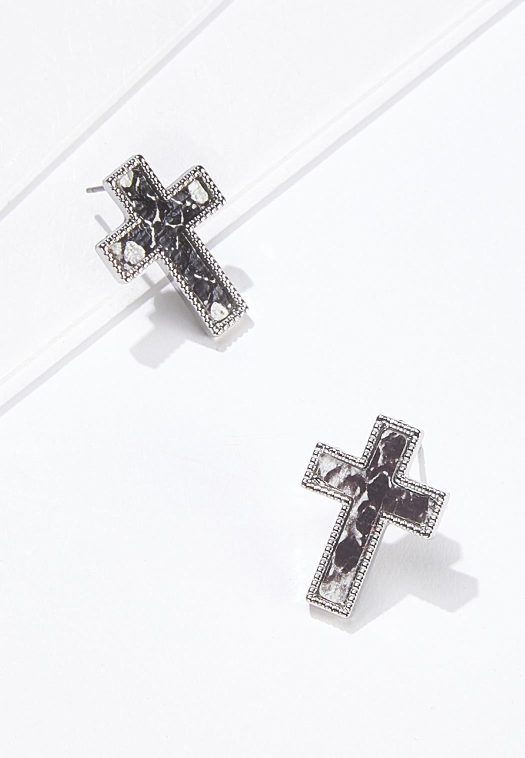 Snakeskin Cross Earrings