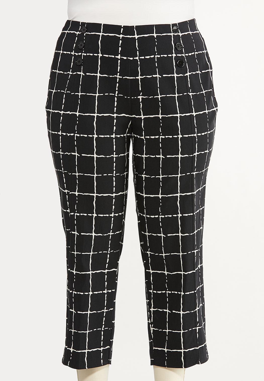 Plus Size Cropped Windowpane Pants
