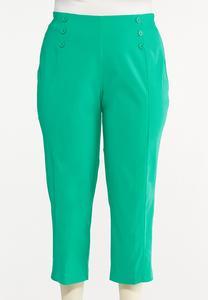 Plus Size Cropped Sailor Button Pants
