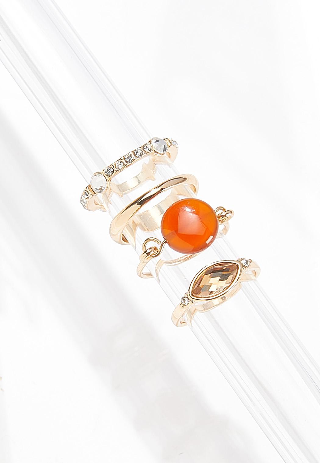 Multi Gold Stone Ring Set