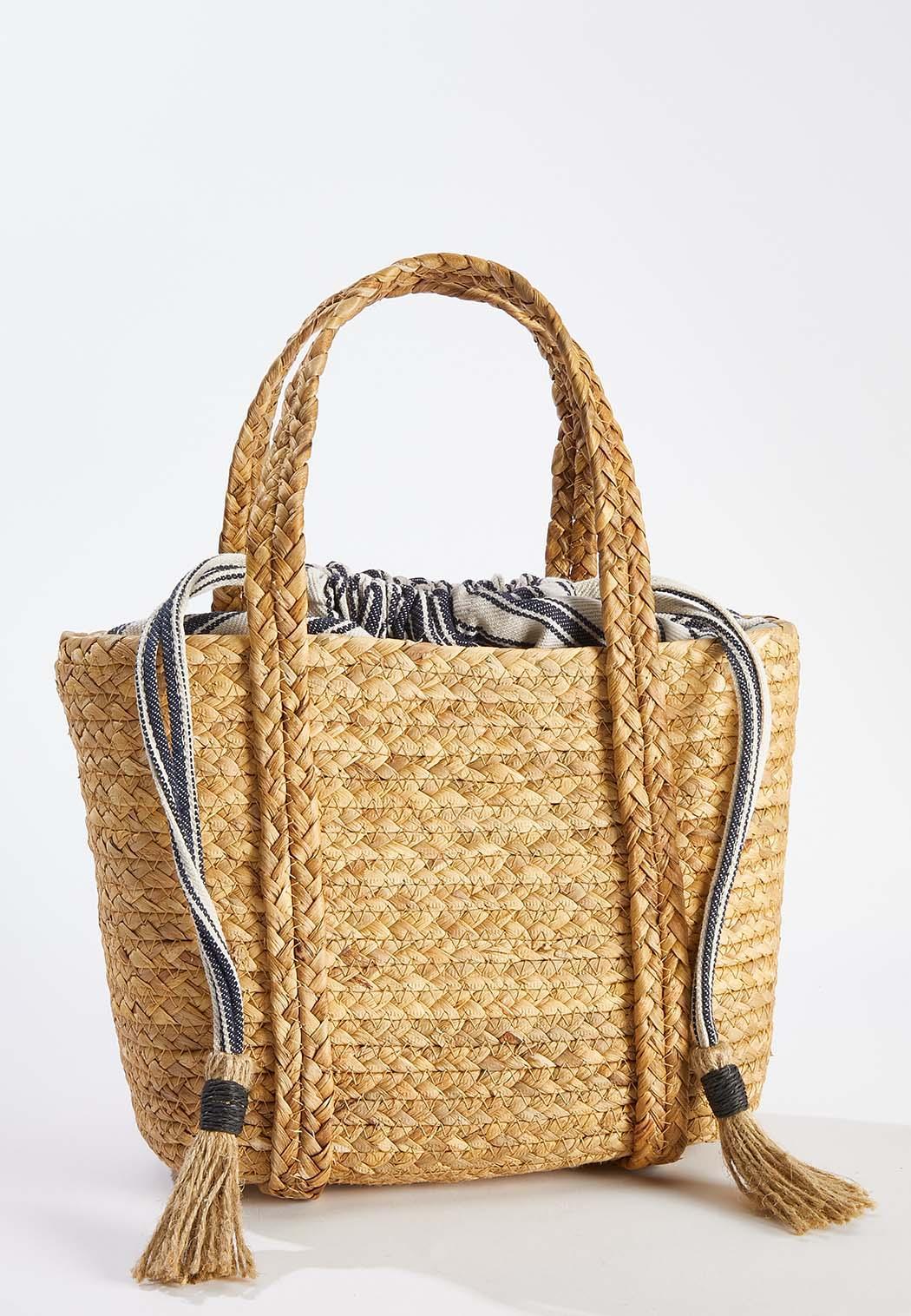 Lined Straw Handbag