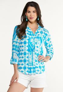 Plus Size Turquoise Tie Dye Top
