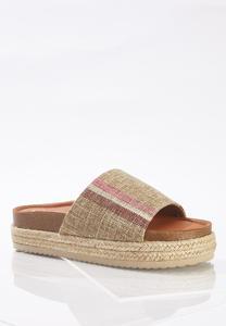Fabric Band Flatform Sandals