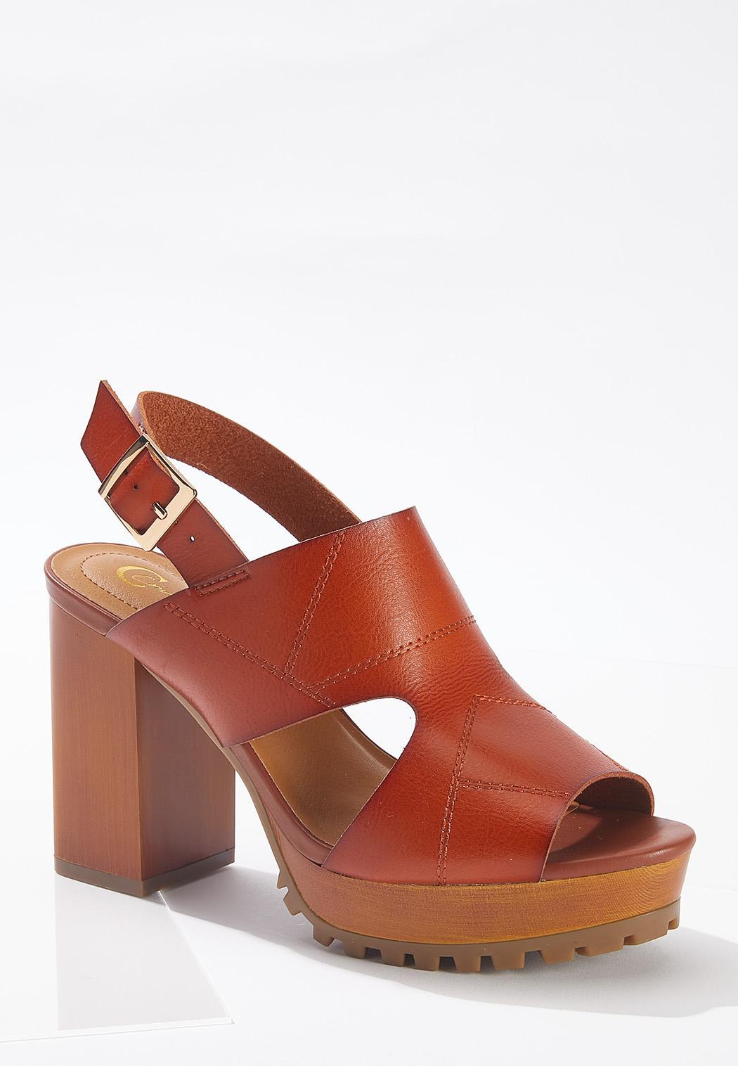 Patchwork Lug Heeled Sandals
