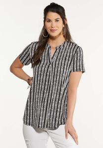 Contrast Striped Rose Top