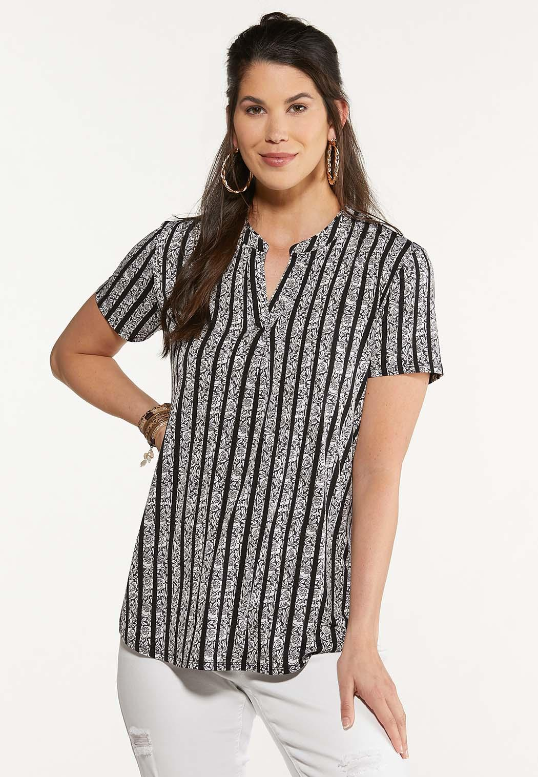 Plus Size Contrast Striped Rose Top