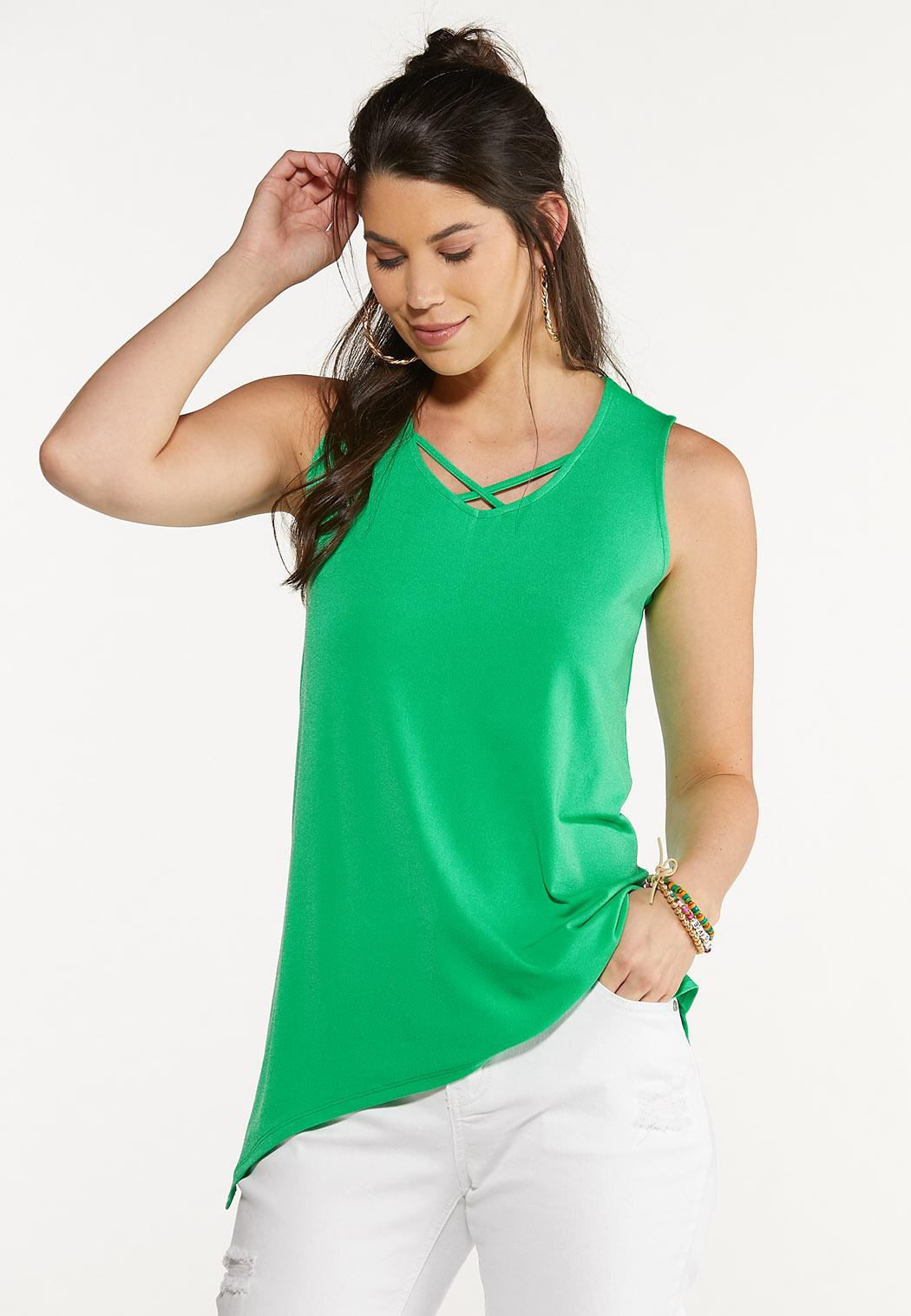 Plus Size Solid Criss Cross Tunic