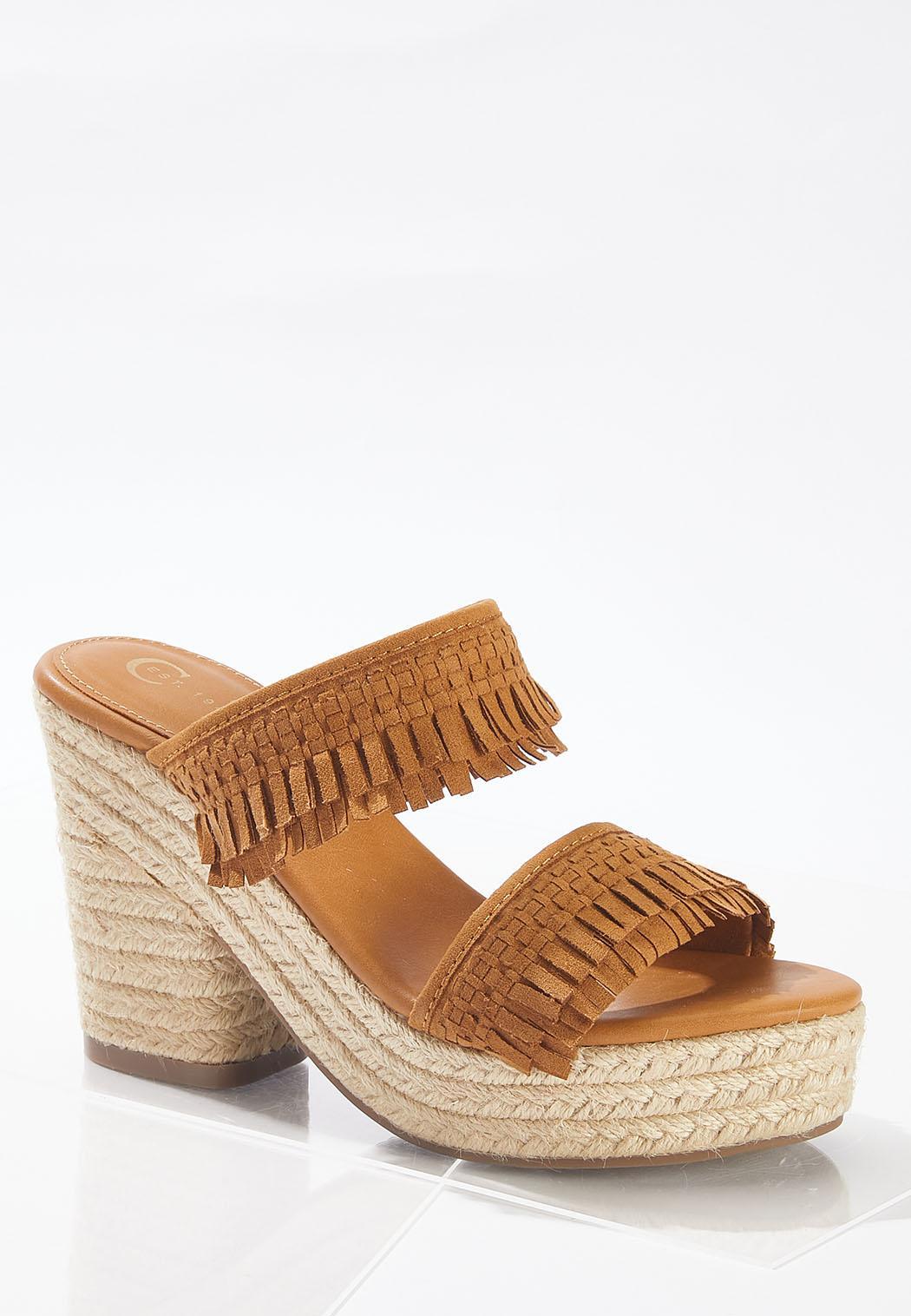 Fringe Band Platform Sandals