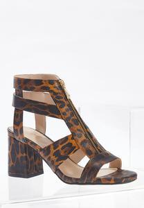 Leopard T-Strap Heeled Sandals