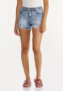 Distressed Paint Splatter Denim Shorts