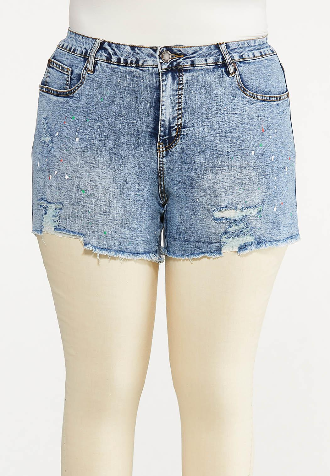 Plus Size Distressed Paint Splatter Denim Shorts