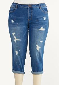 Plus Size Cropped Paint Splatter Jeans