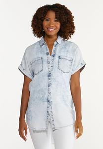 Plus Size Acid Wash Button Collar Shirt