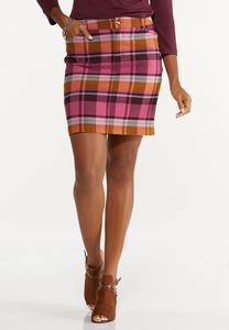Plaid Bengaline Mini Skirt