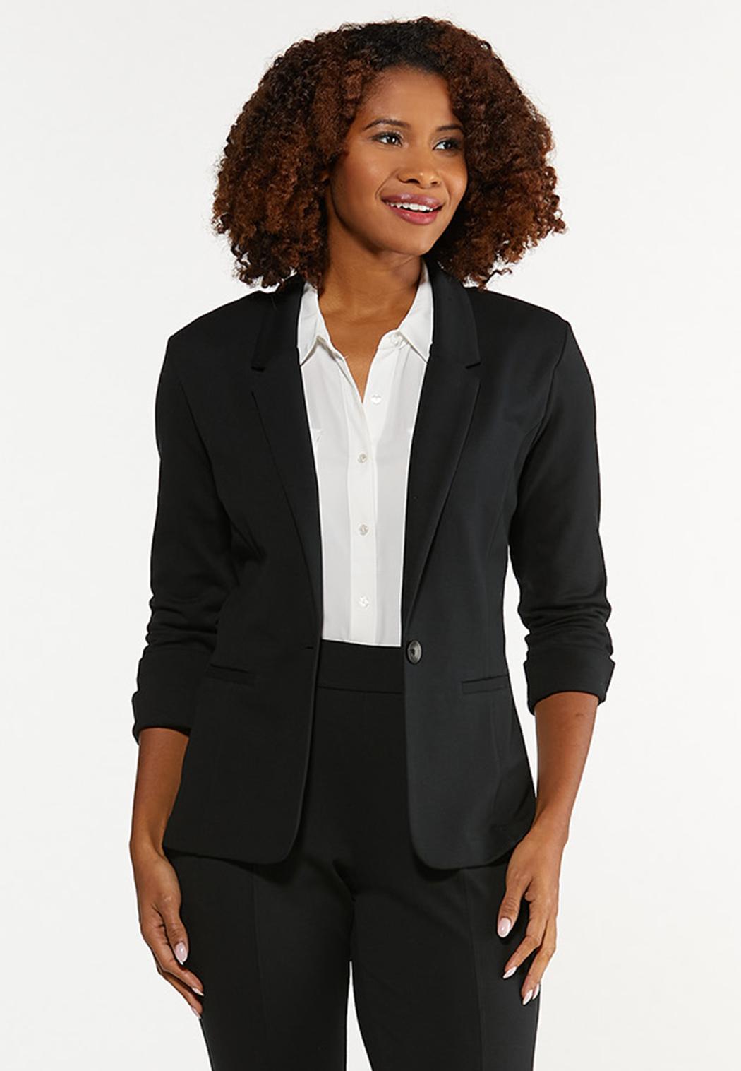 Plus Size Cuff Sleeve Ponte Knit Blazer