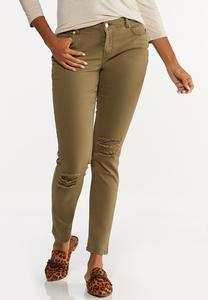 Distressed Olive Skinny Jeans