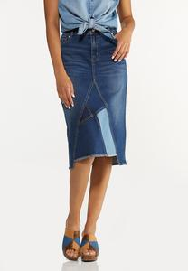Plus Size Colorblock Denim Skirt