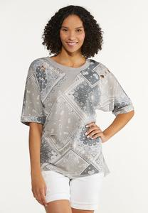 Plus Size Distressed Bandana Sweatshirt