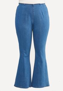 Plus Petite Pull-On Flare Jeans