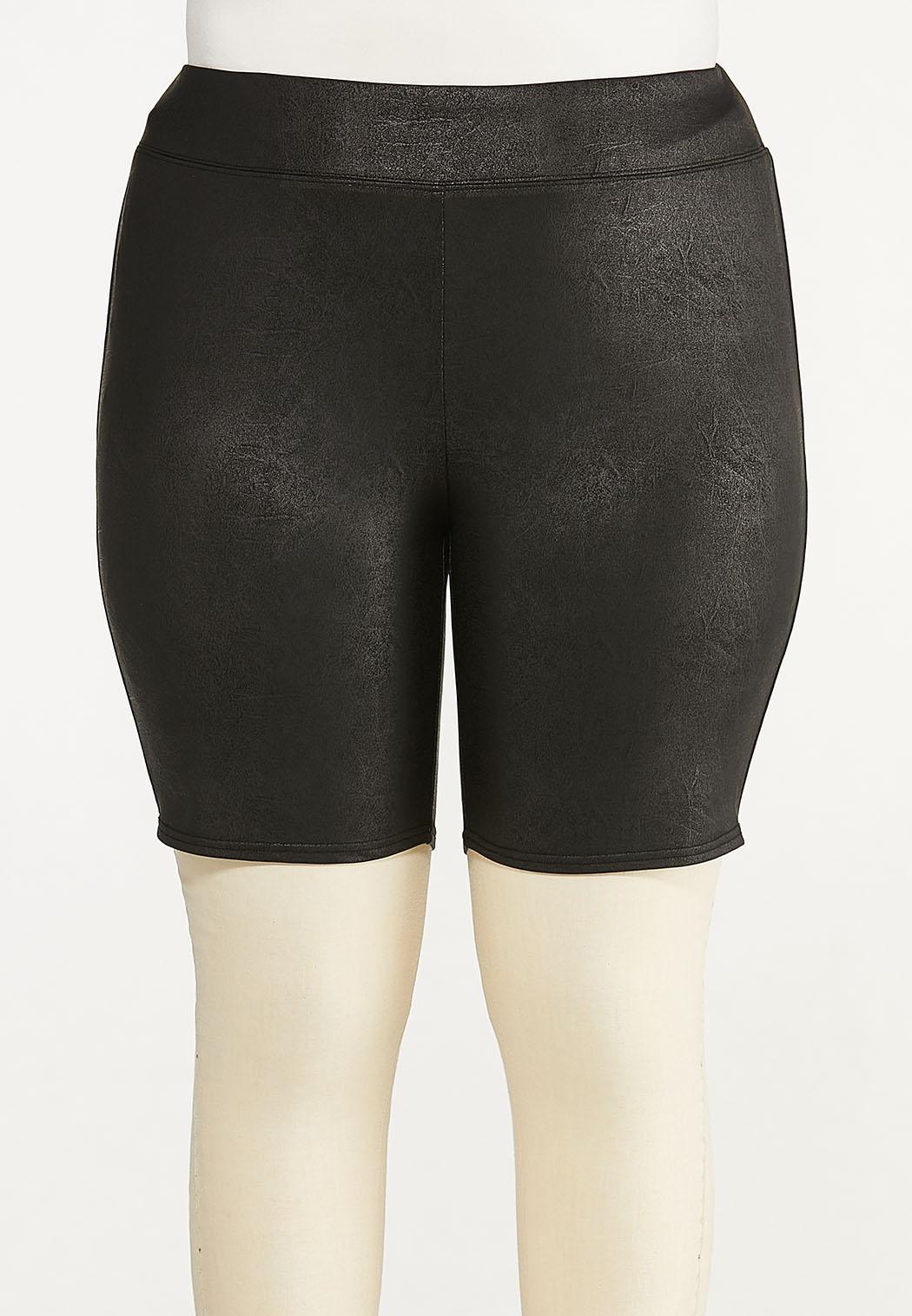 Plus Size Coated Biker Shorts