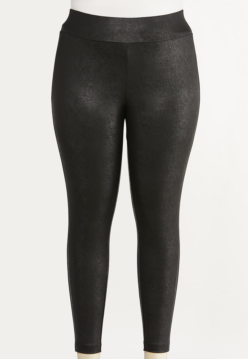 Plus Size Solid Coated Leggings