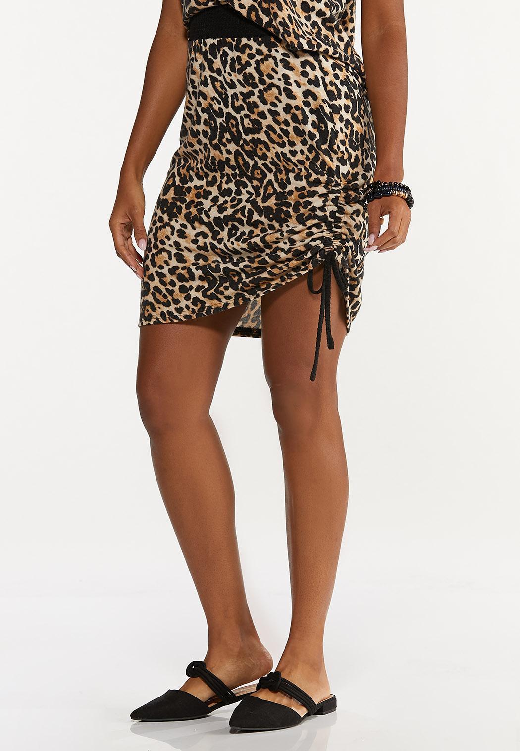 Plus Size Leopard Drawstring Skirt