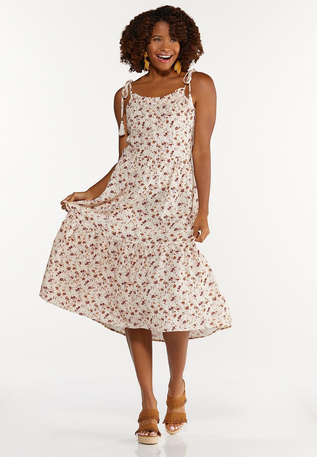 Floral Tasseled Tie Strap Dress