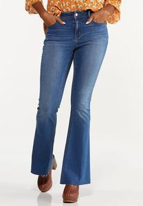 Petite Raw Edge Flare Jeans