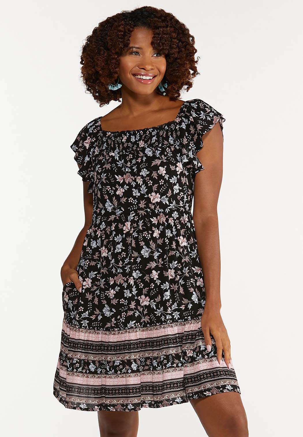 Plus Size Crepe Floral Dress