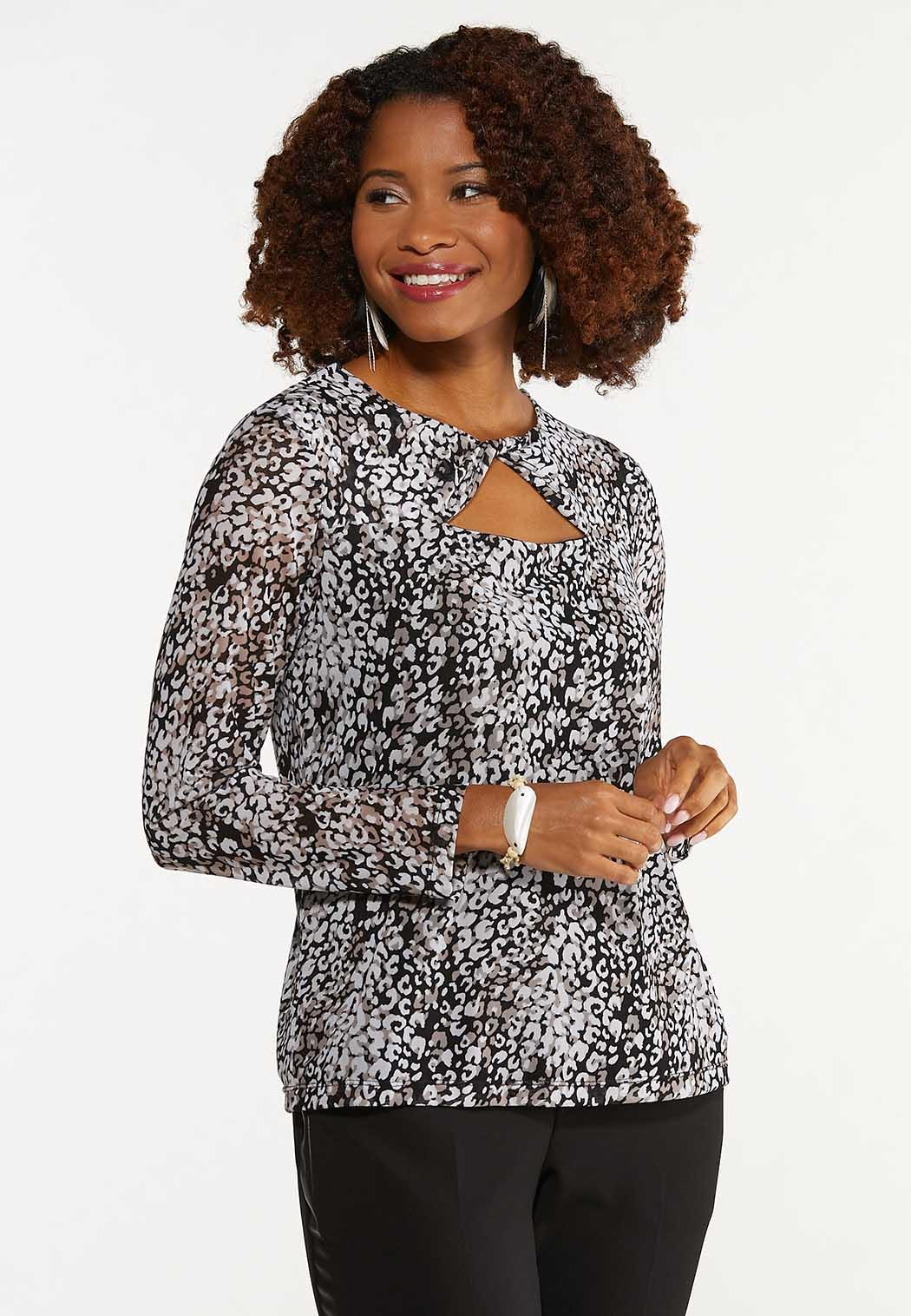 Leopard Twisted Cutout Top