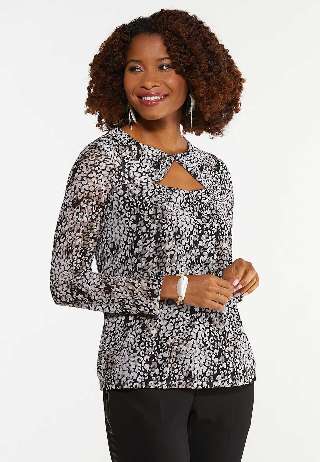 Plus Size Leopard Twisted Cutout Top