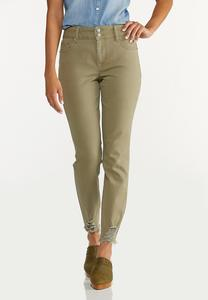 Frayed Olive Pants