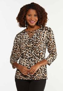 Plus Size Leopard Twisted V-Neck Top