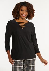 Plus Size Black Twisted V-Neck Top