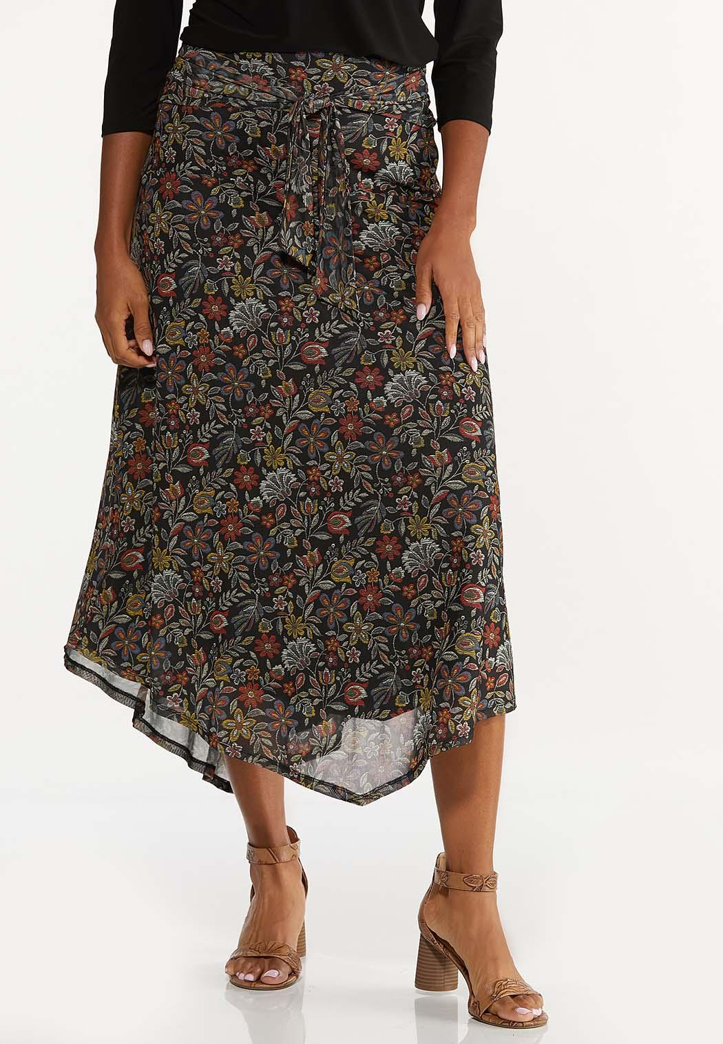 Mesh Floral Midi Skirt