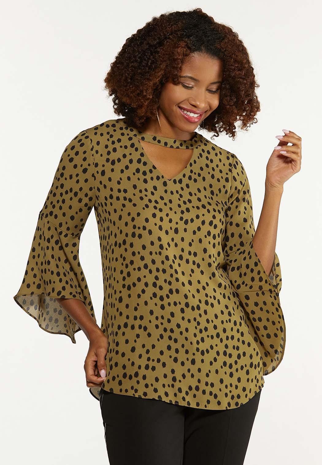 Plus Size Olive Leopard Top