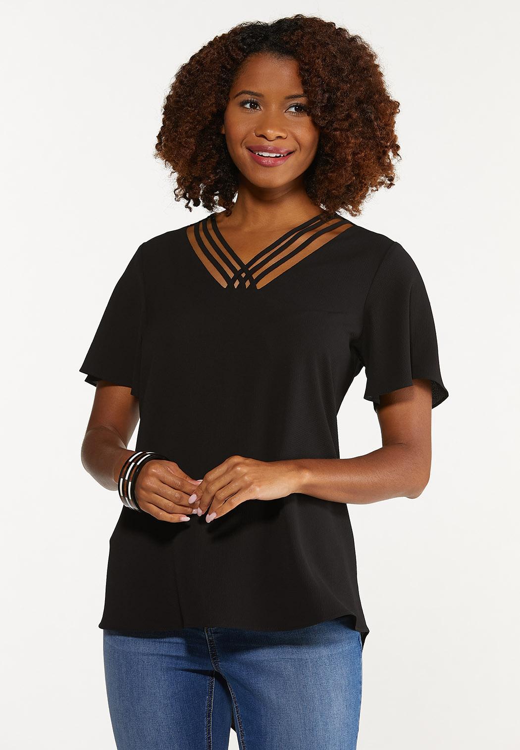Plus Size Crepe Cutout V-Neck Tunic