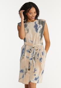 Padded Shoulder Tie Dye Dress