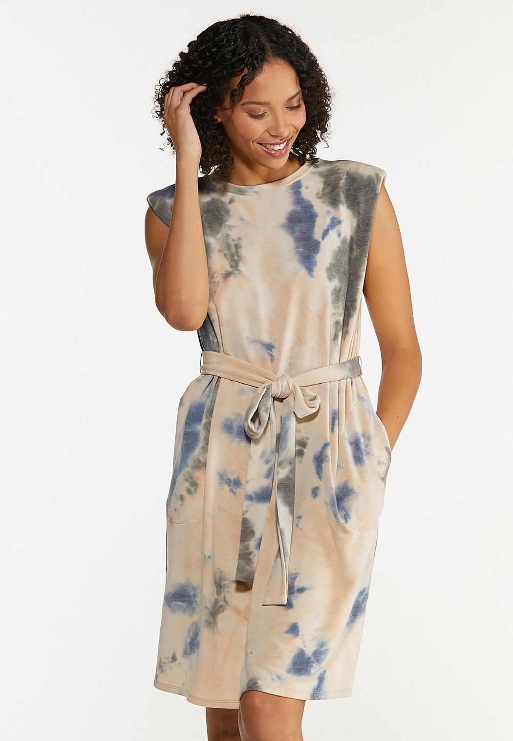 Plus Size Padded Shoulder Tie Dye Dress