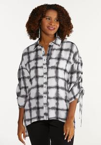 Plus Size Tie Dye Ruched Sleeve Tunic